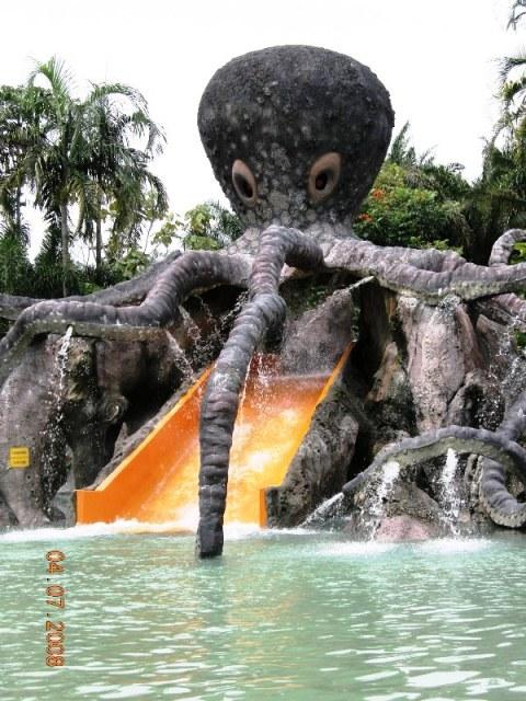 设计突出的章鱼坐落在山水池。