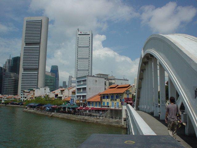 在橋上遙望遠方的建筑物。